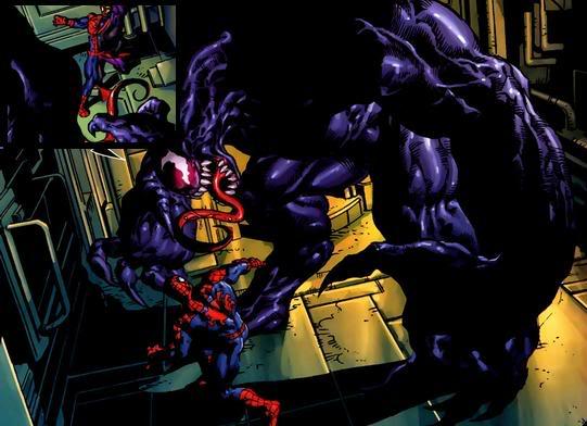 Venom devorando um Skrull que se transformou em Spidey
